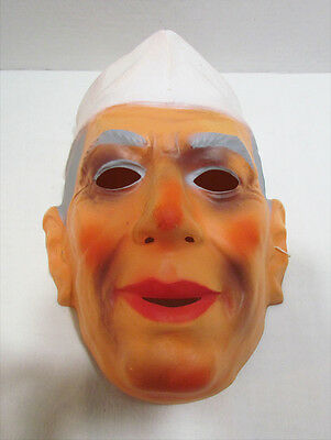 JAWAHARLAL NEHRU VINTAGE PLASTIC HALLOWEEN MASK MADE IN WEST GERMANY c. 1960's