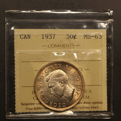 Canada 50 Cents 1937 Silver ChBU - ICCS Holder