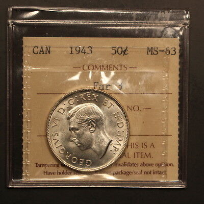 Canada 50 Cents 1943 Far 3 Silver ChBU - ICCS Holder