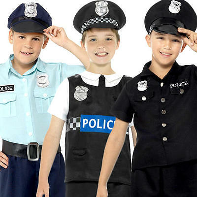 Policeman Boys Fancy Dress Cop Constable Police Uniform Kids Childs Costume New