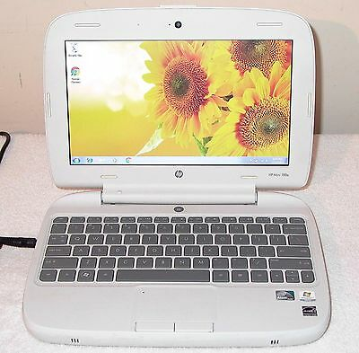 HP Mini Laptop Core 2GB Intel Computer Webcam Windows 7 WiFi Wireless White 56K