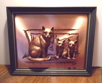 Gorgeous, Cute New Raised 3D Bronze Finish 3 Cats, Mother & 2 Kittens Wood Frame