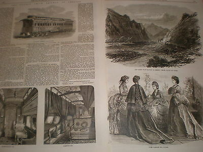 Pacific Union Railway Pullman Drawing and sleeping car & Weber valley 1869 print