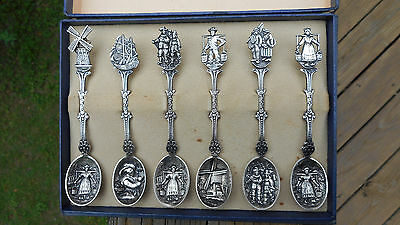 Vintage Set Of 6 Dutch Silverplate Souvenir Spoons With Original Box