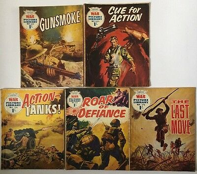 War Picture Library Priced At 1/- X 5