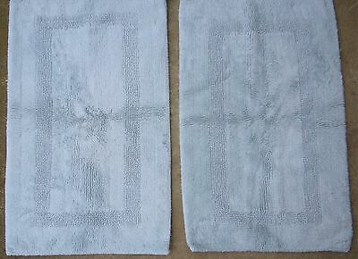 "Set of 2 Light Blue Chenille Rugs 21"" x 36"" Thick Plush Cotton Pair Vtg"