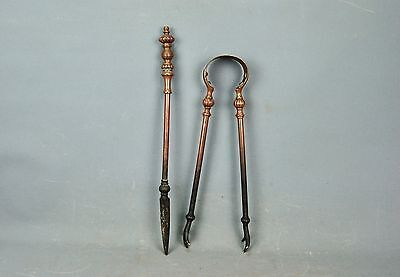 Antique Brass Bronze Iron Fireplace 2pc TOOL Set Fire Tools Poker Tongs 19th c