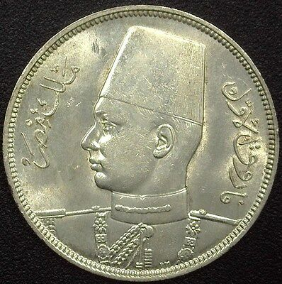 Egypt 1937 Silver 10 Piastres  Km#362, Y#85  Near Gem Uncirculated