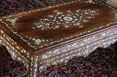Vintage Syrian hand Inlaid cocktail Coffee table w/floral pearl details