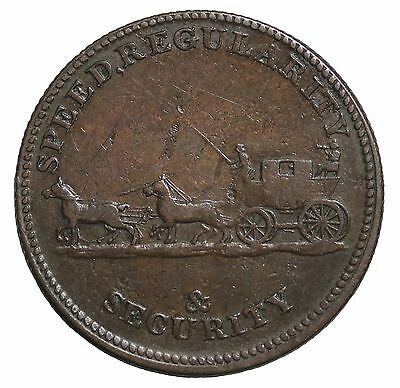1800's London William Waterhouse Mail Coach Halfpenny Conder Token Withers-840