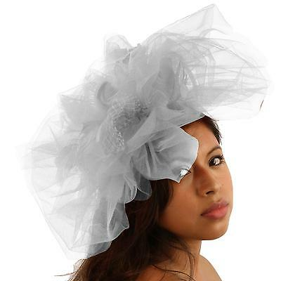 Big Tulle Mesh Feathers Fishnet Headband Fascinator Bridal Cocktail Hat Silver