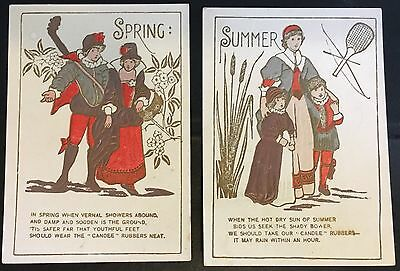 TWO Trade Cards ~ Candee Rubber Boots & Shoes ~ Spring & Summer ~ Chesanning MI