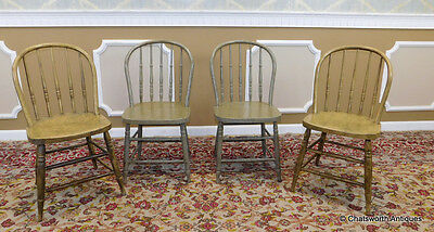4 Matched Antique Painted Country Hoop Back Spindle Windsor Side Chairs c1890
