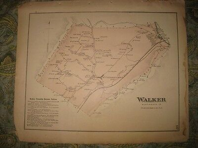 ANTIQUE 1873 WALKER TOWNSHIP McCONNELLSTOWN HUNTINGDON COUNTY PENNSYLVANIA MAP