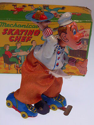 """""""MECHANICAL SKATING CHEF""""  TPS 1958, 16cm, WIND UP OK ! NEARLY NEW !"""
