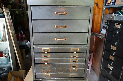 Shaw Walker vintage Parts Bin 9  Drawer  Steel Metal Storage Cabinet/Industrial/
