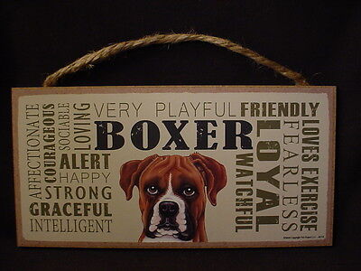 BOXER Subway Style Dog SIGN 5 X 10 wood WALL hanging PLAQUE uncropped puppy NEW