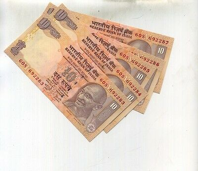 2008 10 Rupee India Currency Note Lot Of 5 Consectively Numbered Notes Cu