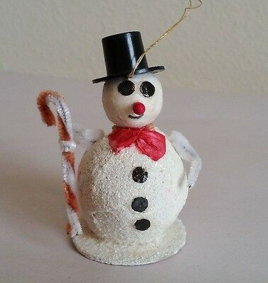 Vintage Paper Mache Snowman Christmas Ornament Made in Japan