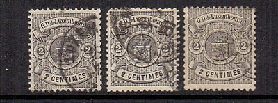 LUXEMBOURG 1875 2c SMALL MARGIN x 3 USED