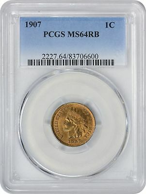 1907 Indian Cent MS64RB PCGS Mint State 64 Red Brown