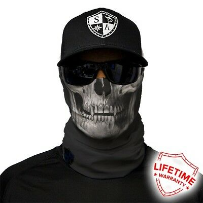 MOTORCYCLE FACE MASK - BLACK SKULL - (Moto, Hunting, Fishing, Paintball)