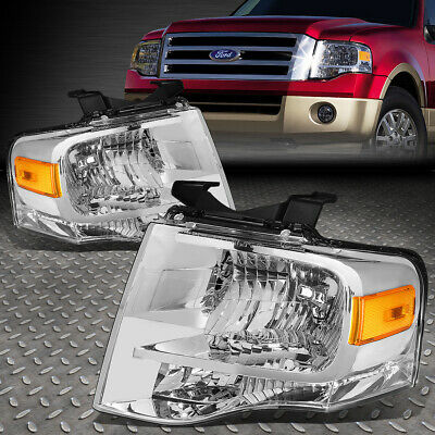 Fit 2007-2014 Ford Expedition Pair Black Housing Amber Side Headlight//Lamp Set