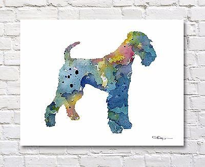AIREDALE TERRIER Contemporary Watercolor 11 x 14 ART Print by Artist DJR