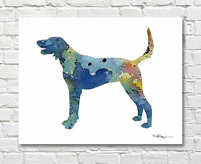 American Foxhound Abstract Watercolor Painting Art Print by Artist DJ Rogers