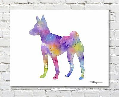 BASENJI Contemporary Watercolor Abstract ART Print by Artist DJR