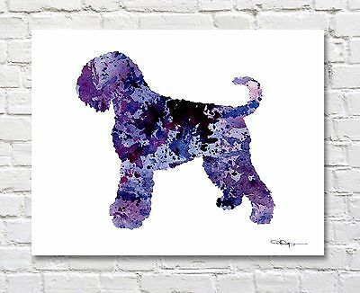 "Black Russian Terrier Abstract Watercolor 11"" x 14"" Art Print by Artist DJR"