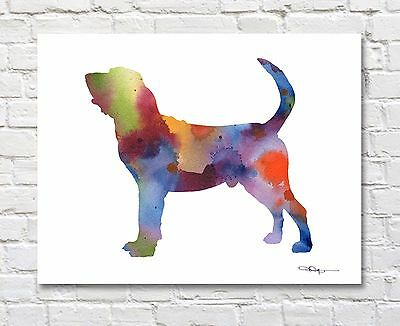 BLOODHOUND Contemporary Watercolor Abstract ART Print by Artist DJR
