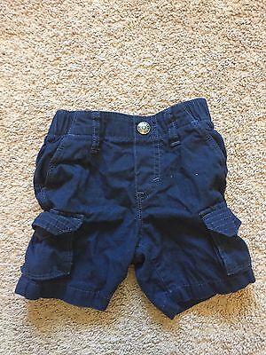GOOD USED CONDITION Toddler Boys Navy Blue OLD NAVY Cargo Shorts Size 12-18 Mths