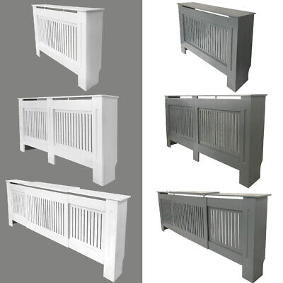 Vertical Slats Radiator Cover Natural Wall Cabinet MDF Traditional All Sizes