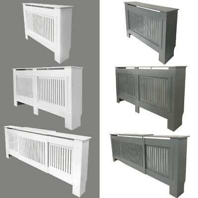 Vertical Slats White Painted Radiator Cover Natural Wall Cabinet MDF Traditional