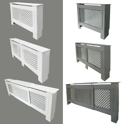 Radiator Cover Traditional MDF Wood Cabinet Diamond Grill 5 Size Natural / White