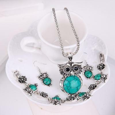 Jewelry Set Silver Green Turquoise Owl Pendant Necklace Earrings Bracelet hot PS