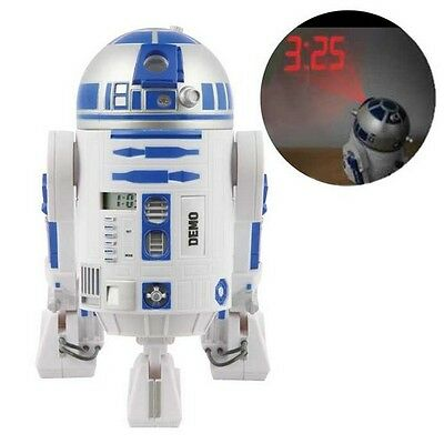 New Star Wars R2D2 SFX Talking Projection Alarm Clock Rotating Head
