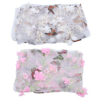 3D Lace Fabric Organza Flower Butterfly Embroidery Wedding Dress Clothes Sewing