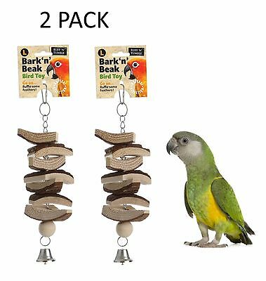 2 X Large 30 Cm Bark N Beak Natural Wooden Parrot Cage Toy With Bell 217777