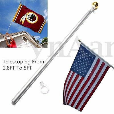 5FT Aluminum Silver Telescopic Flag Pole Flagpole Kit Outdoor Gold Ball Brushed