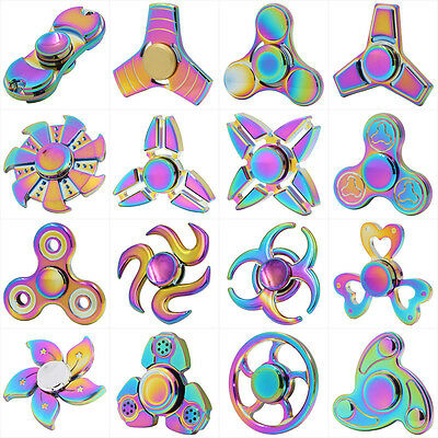 Rainbow Finger Fidget Hand Spinner Bearing Focus Toys ADHD For Adults Kids UK