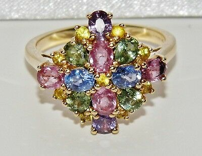 Stunning 9ct Yellow Gold Multi Sapphire Cluster Cocktail Ring - size O