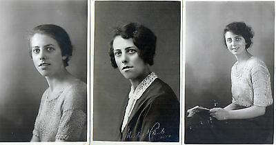 Lot Of 3 Antique Original Postcards - Ladies - 1925, (RP)