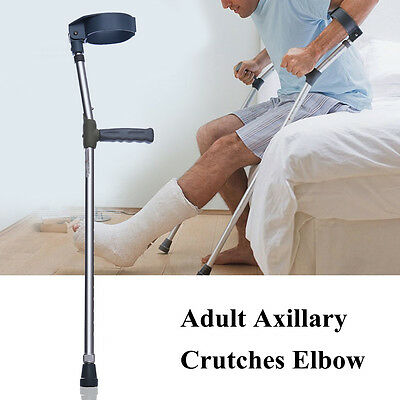 Pair Adjustable Forearm Underarm Crutches Ergonomic Walking Stick Aluminium New!