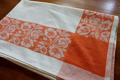 Retro Cotton Damask  Tablecloth - Orange Border - Vintage Flowers