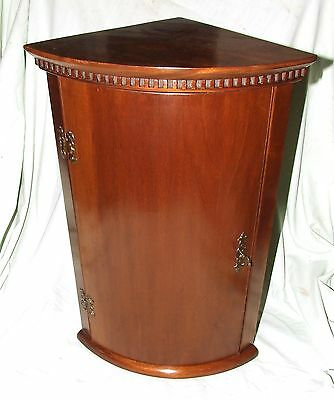Petite Antique Edwardian Mahogany Bow Fronted Corner Cupboard : 23 inches high