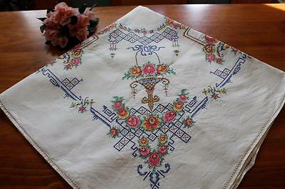 Vintage  Linen Cross Stitch Embroidered Tablecloth - Hand Worked - Roses