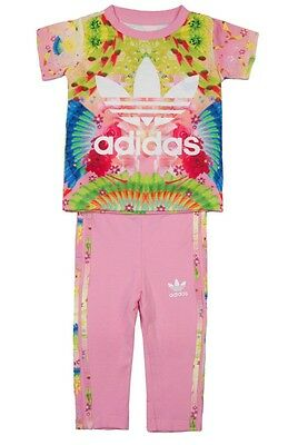 Adidas Girls INFANT FEATHER Set 2pc Leggings AJ0023 PINK/MULTI 6-9m up 3-4years