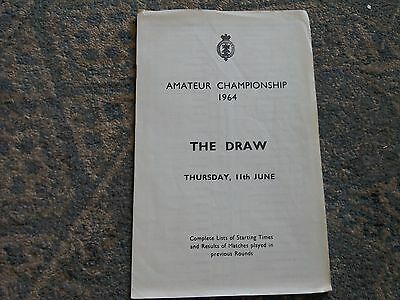 Draw Sheet for The Amateur Golf Championship June 1964.